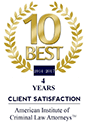 10 Best 2014 | 4 years Client Satisfaction | American Institute of Criminal Law Attorneys